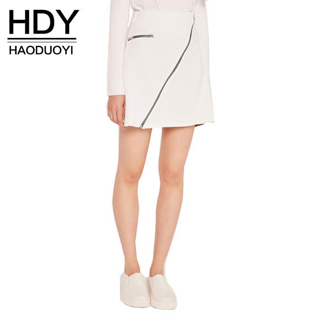 Hdy falda delgado acanalado cremallera haoduoyi sólido blanco mujeres de la calle ocasional mini faldas otoño elegante señora de la oficina a-line de la falda básica