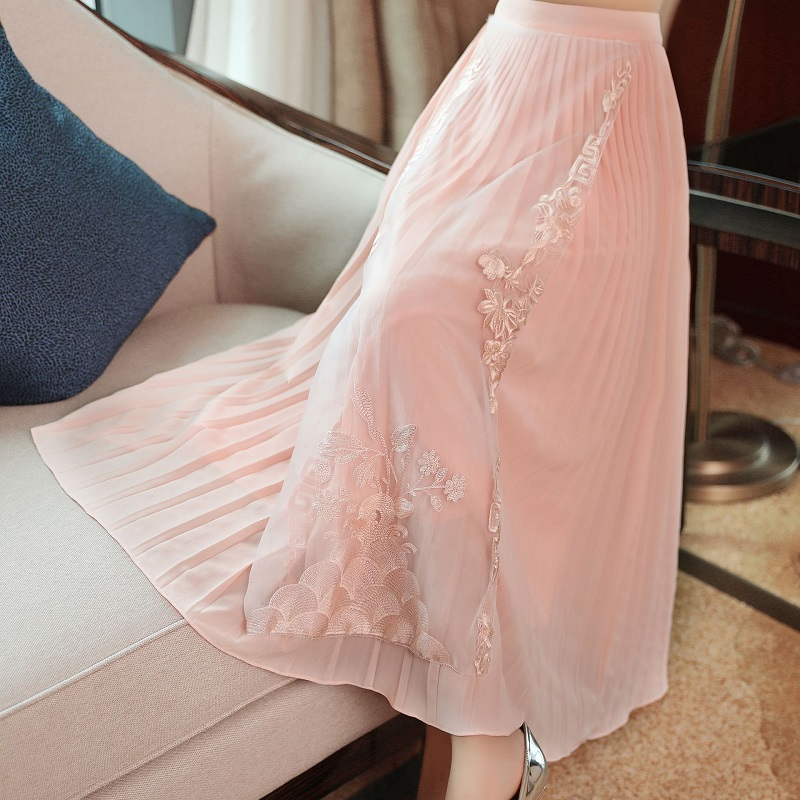 High Quality Skirts 2019 Spring Summer Fashion White Pink Skirt Women Lurex Embroidery Ankle Length Vintage Skirts Plus Size