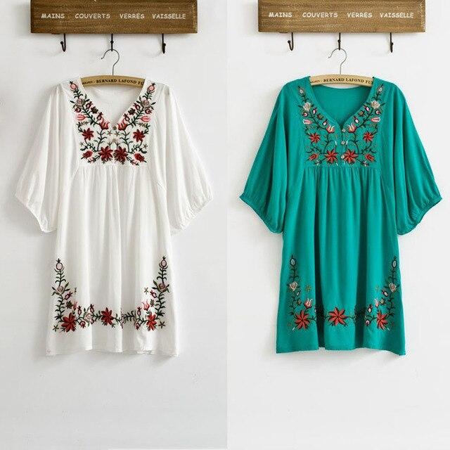 a714106f2c Caliente venta Vintage 70 S Floral bordado Hippie BOHO mexicano puff slv blusa  vestido tamaño XS