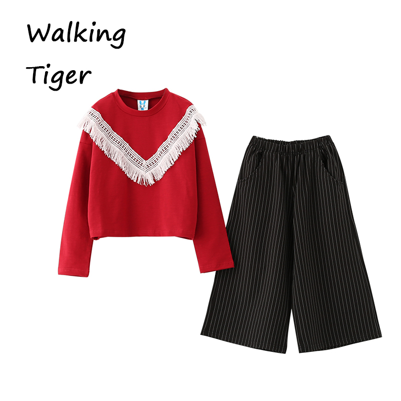 Girls tops + trousers, clothes sets girl coat loose pants boutique outfits kids autumn 2017 new fashion Children clothing suits серьги