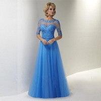 Nouvelle Arrivée Une Ligne Tulle Bleu Clair Mère de la Robes de mariée Plus Taille Robes Moitié Manches Applique de Soirée Partie robes