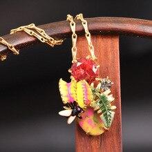 ฝรั่งเศสLes Nereidesชุดแมลงปิรันย่าอัญมณีจี้สร้อยคอสำหรับผู้หญิงG Old P Latedยี่ห้อเครื่องประดับ