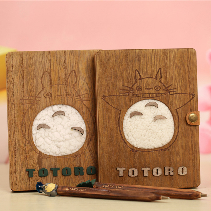 Creative Cute Cartoon Totoro Planner Notebook Diary Book Wooden Chinchilla School Supplies Gift Stationery 1pc creative cute cartoon animal planner notebook diary book wooden school supplies student gift