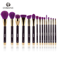 New Arriveral 15pcs Set Hot Purple Nylon Hair Wood Professional Makeup Brush Set Eyeshadow Brush Foundation