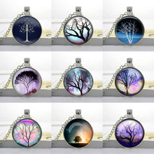 Tree of life necklace space galaxy pendant lord of Glass Cabochon Jewelry 9 items for your selection Fashion Tree Necklace HZ1