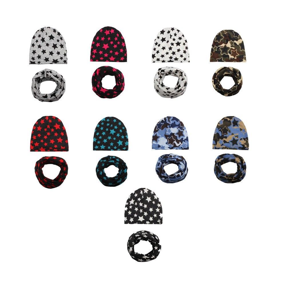 Kids hat and scarf cotton beanie kids beanie Spring Hat Set Kids Girls Winter Star cotton Hat Child Caps With Scarf Great Gift