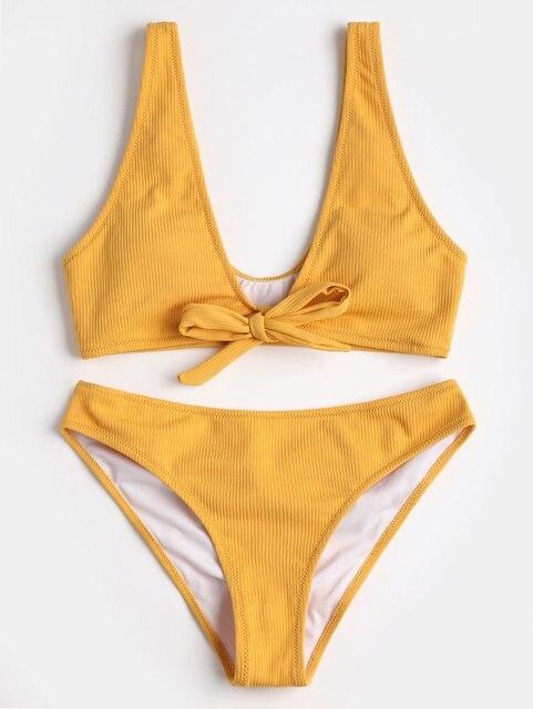 08e97cf0b Acolchado traje de baño playa traje de baño de las mujeres textura  acanalada atada Scrunch Butt