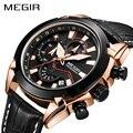 Мужские кварцевые часы MEGIR  спортивные армейские часы с кожаным ремешком и секундомером  2065