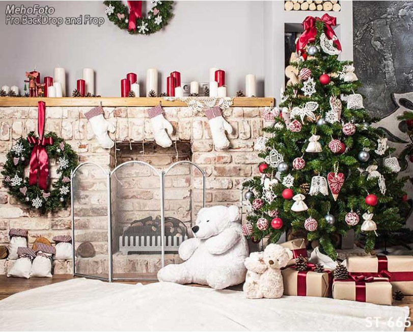 Fireplace Decorations Christmas Tree Gift Teddy Bear  Backgrounds Vinyl cloth High quality Computer print wall  backdrop decorations tree fireplace light room scene photo backdrop high quality vinyl cloth computer printed christmas backgrounds