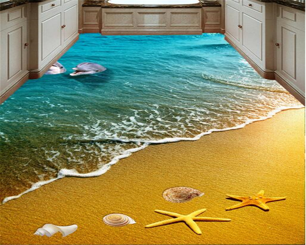 beibehang beach starfish dolphins 3d flooring painting tiles bedroom bathroom living room 3d waterproof self-adhesive wallpaper starfish beach style pillow case