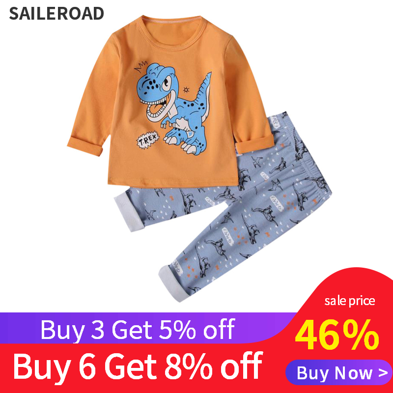 SAILEROAD Children Cartoon Dinosaur   Pajamas     Set   Kids   Pajamas   Cotton Boy Girl Pyjamas Pijama Infantil Child Sleepwear Clothes   Set