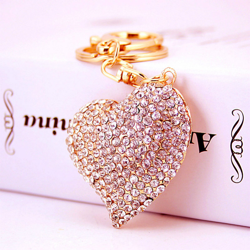 Sweet Peach Heart New Cute Crystal Charm Pendant Purse Bag Car Key Ring Chain Jewelry Gift Bling heart