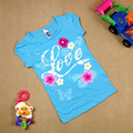 Summer fashion girl short sleeve Top  flower T-shirt 100% dot Tees t-shirt blue colors