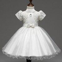 Elegante Abito da sposa Ragazza di Estate Delle Ragazze del manicotto di soffio merletto del ricamo di tulle Party Dress Baby Girl Dress bianco/rosa/giallo