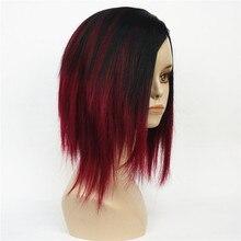 Strong beauty perruque Bob synthétique complète courte et lisse pour femmes, perruque mélange vin profond naturelle noire