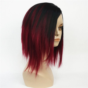 Image 1 - StrongBeauty của Phụ Nữ Ngắn Straight Bob wig Sâu rượu Mix Đen Tự Nhiên Tổng Hợp Full Tóc Giả