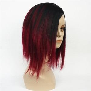 Image 1 - Strongbeauty curto em linha reta bob peruca profunda mistura de vinho preto natural perucas completas sintéticas