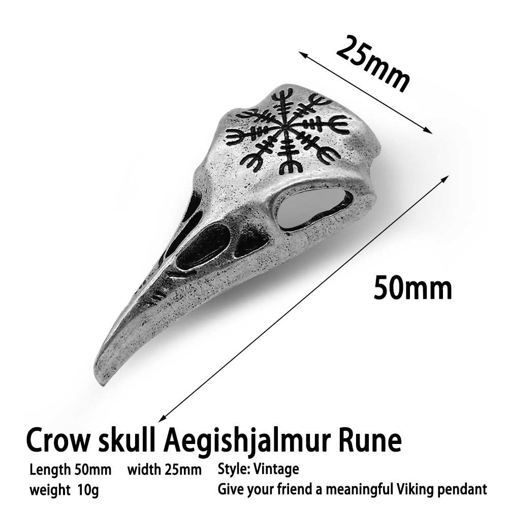 オーディンカラス頭蓋骨バイキングペンダントネックレスジュエリーヴィンテージシルバー色パンクエスニックトーテムカラス 1pc