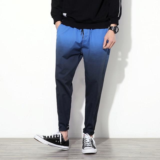 ea372f2b5aa7 Gradient Color Men Pants Summer Slim Fit Drawstring Casual Harem Pant Mens  Ankle Length Quality Cotton Men s Trousers Plus Size