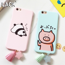 LACK Lovely Cartoon Animal Pandas Pig Case Tassel Pendant Cover For iphone 6 Case Hard PC Phone Cases For iphone 6S 6 PLus NEW
