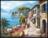 Needlework for embroidery DIY French DMC High Quality Counted Cross Stitch Kits 14 ct Oil painting Overlook Cafe II