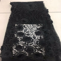 Black Beaded Appliqued Lace Fabric High Quality Latest African Lace 2018 Noble 3D Lace Fabric For
