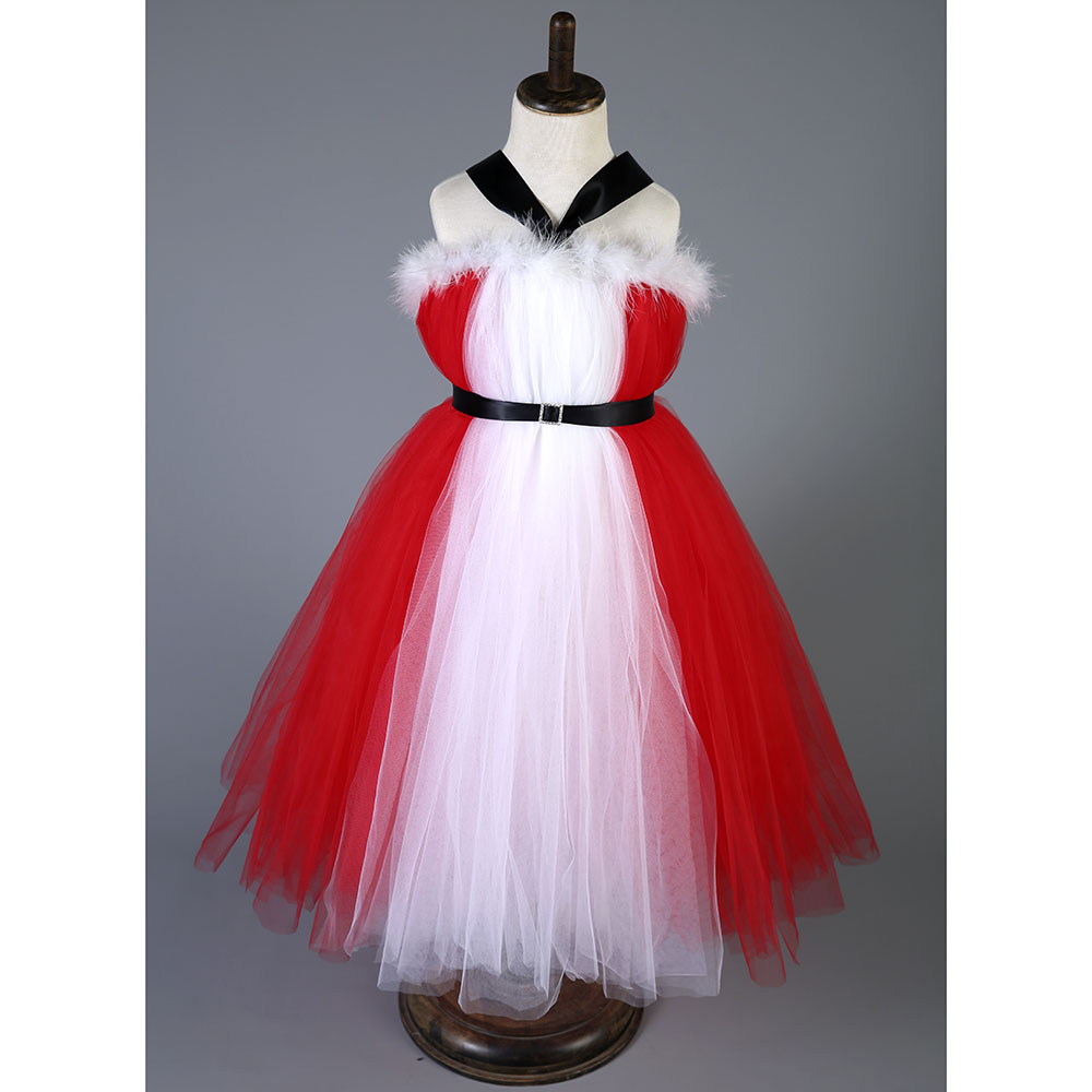 154f0352cc Christmas Halter Girl Tutu Dress With Sash Red Color Children Winter  Feather New Year Party Tutu Dresses For Photograph 1 10 Y-in Dresses from  Mother   Kids ...