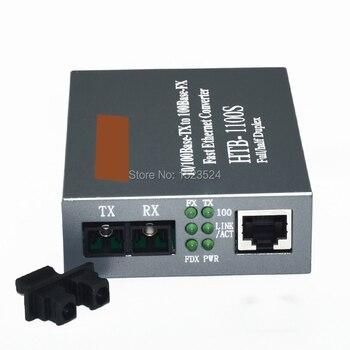 Envío gratuito HTB-1100S medios ópticos convertidor 10/100 Mbps RJ45 único modo dúplex SC de fibra Puerto convertidor 25 km