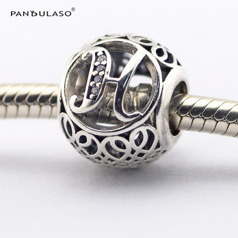 Pandulaso Sterling-Silver-Jewelry Vintage Letter H Beads Fit Charms Bracelets Fashion Alphabet DIY Beads for Jewelry Making
