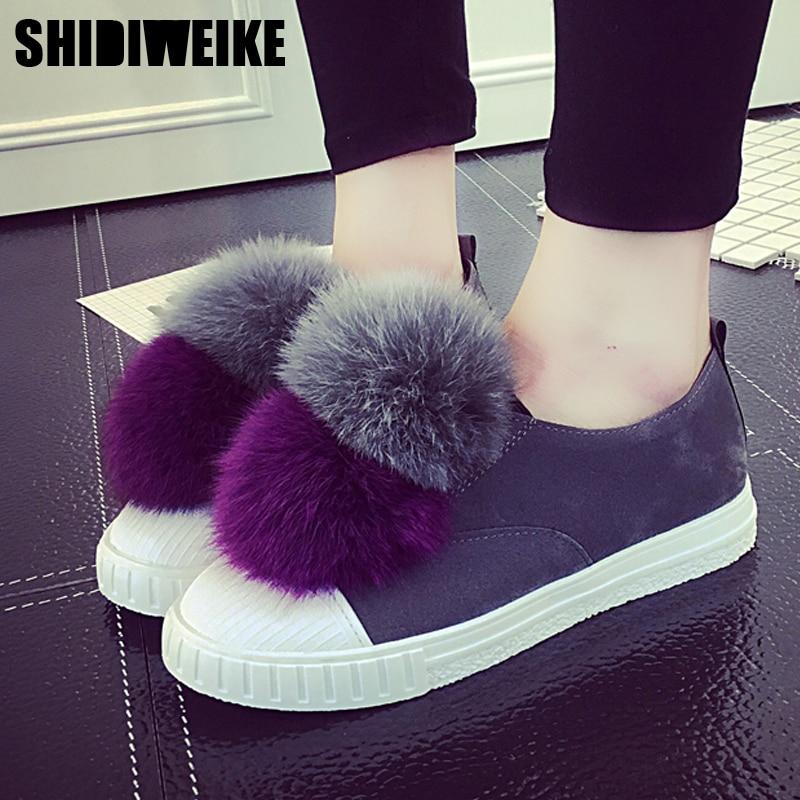 Shidiweike Для женщин Повседневная Обувь Слипоны Мех животных Лоферы Новинка 2017 года Дизайн Модные женские для отдыха Лоферы для женщин леди круглый носок плоские
