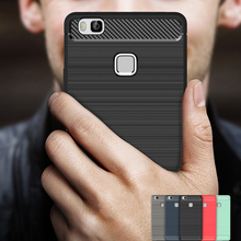 Shockproof Phone Case For Huawei Acsend P9 Lite G9 Cases Carbon Fiber TPU Soft Silicone Cover For Huawei P9 Lite цена