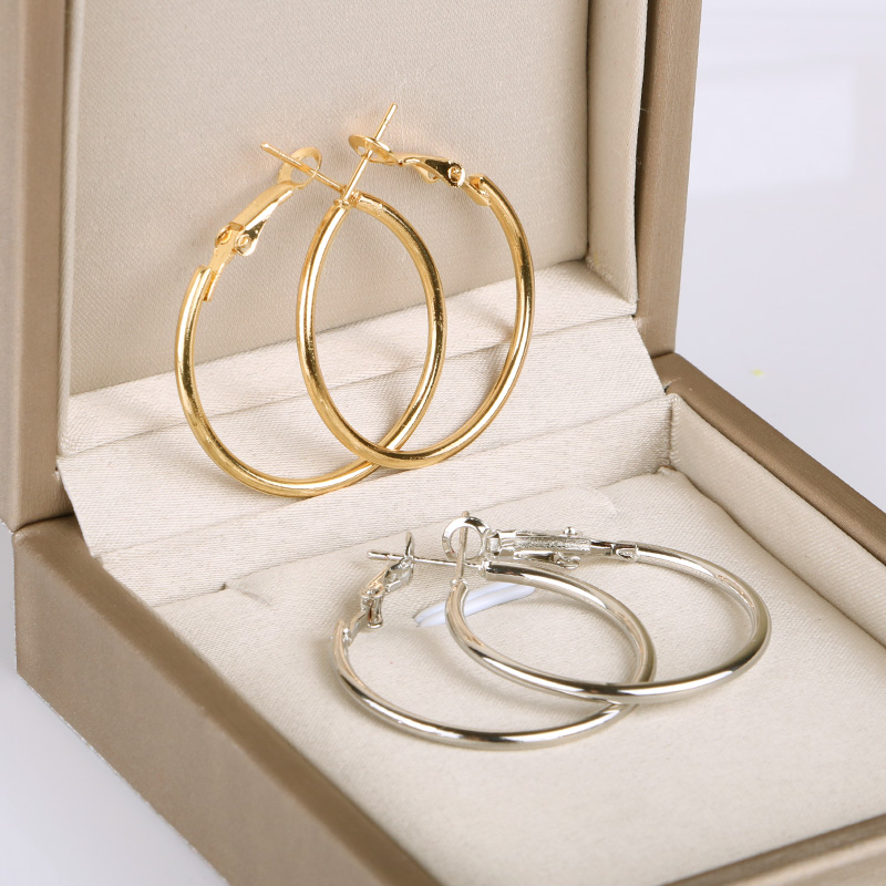 Gold Silver color small round Hoop Earring for Women Accessories Alloy Trendy wholesale fashion Jewelry daily Earings