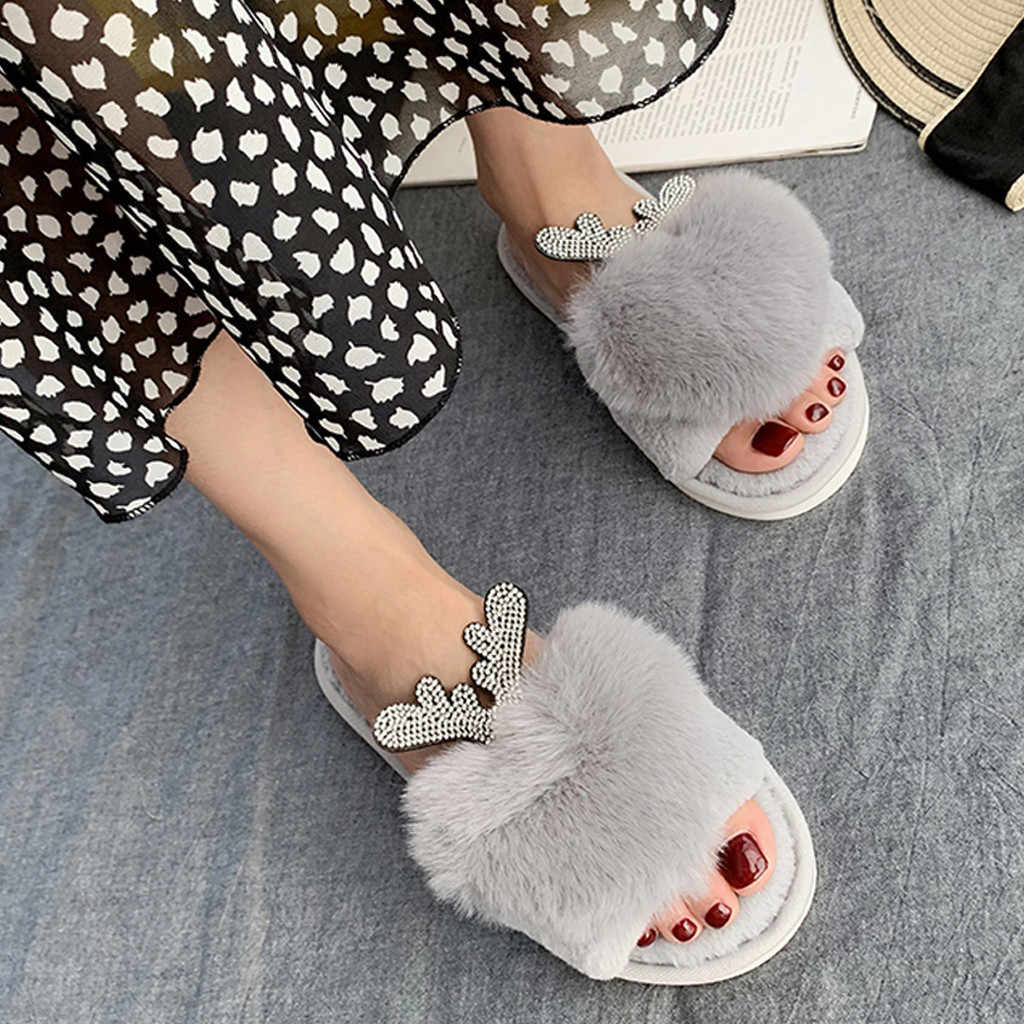 Winter Women Home Slippers with Faux Fur Cotton Warm Shoes Woman Slip on Flats Female Slides Soft-Bottom Indoor Outdoor