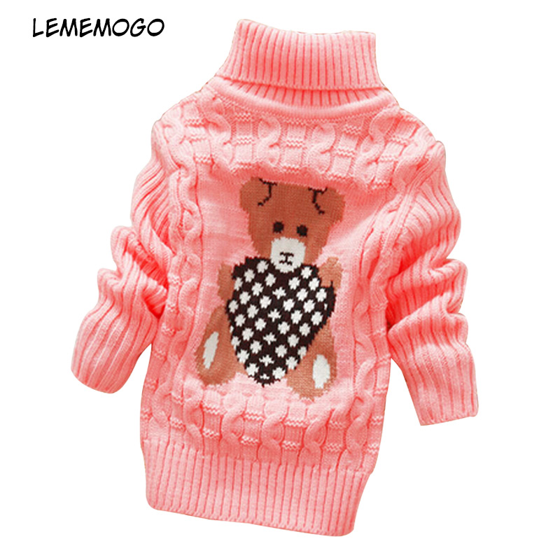 Lememogo Boys Girls Sweaters Autumn Winter 2018 Cartoon Turtleneck Baby Kids Sweaters Soft Warm Girl Knitted Sweater 70-105cm