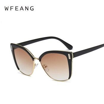 7547a979f9 WFEANG diseñador de la marca de moda las gafas de sol del ojo del gato Tom  Sun gafas tamaño grande Cateye Vintage Oversize mujer gradiente puntos