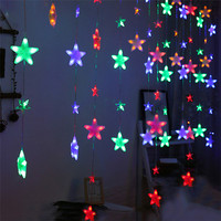 4M 252 Led Full Star Icicle Christmas LED String fairy light 8 Mode Outdoor Wedding Holiday Fairy Star Icicle Curtain Light