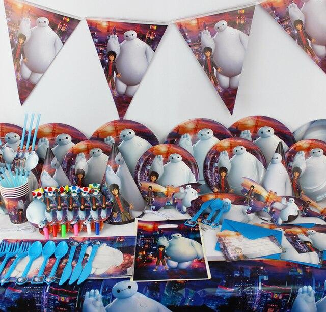 78pcs Cartoon Big Hero 6 Baymax Hiro Hamada Party Decorations For Kids Birthday Luxury Set Baby Shower Supplies