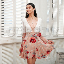 CUERLY Sexy v neck lace dress women Flare long sleeve boho floral short dress Hollow out elegant summer dress vestido 2019 new europe new 2018 spring summer pregnant women causal sexy v neck long flare sleeve hollow out lace dress maternity clothes