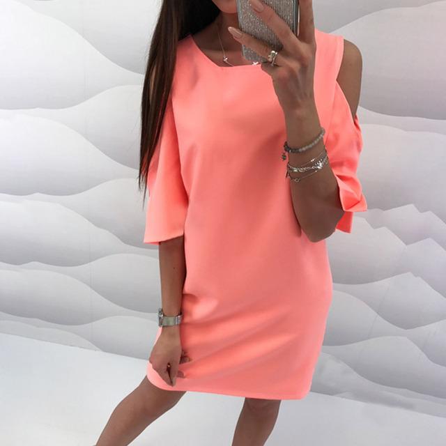 Summer Off-Shoulder Short Sleeve Mini Dress