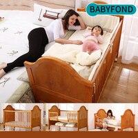 Новорожденных кроватки твердой древесины многофункциональный кроватки переменной детская кровать европейская детская игра кровать От 0 д