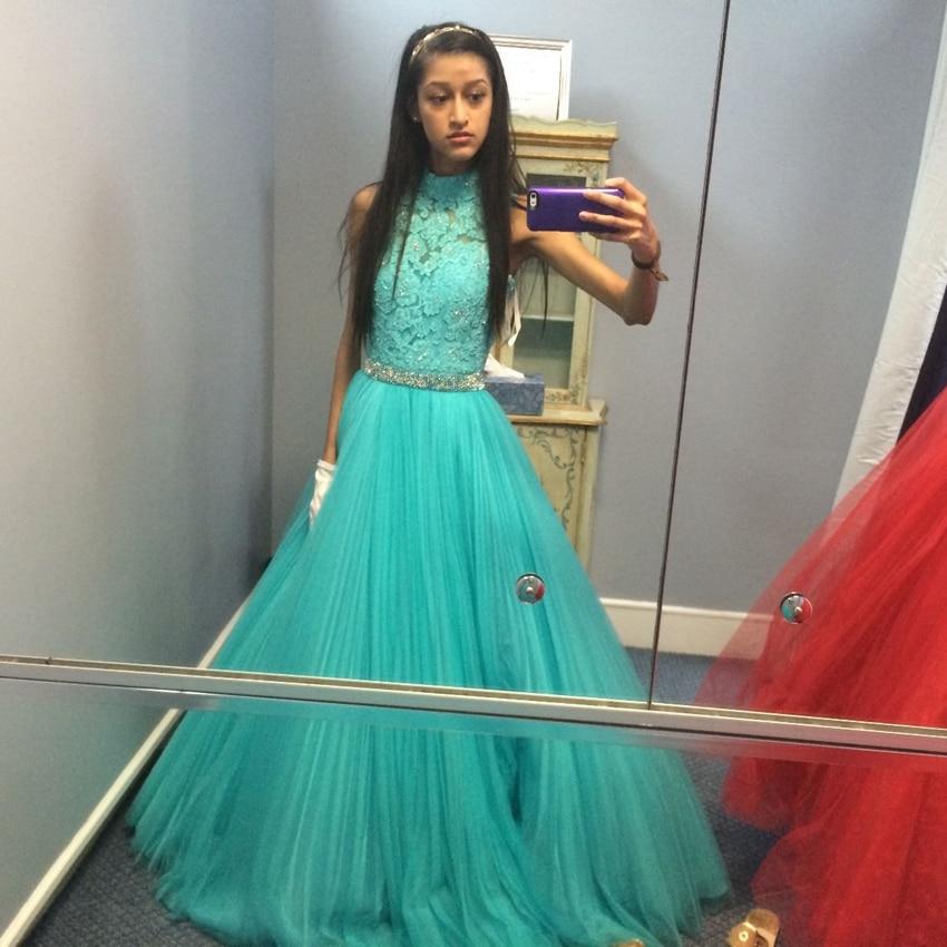New Model Graduation Dresses Sexy Open Back Party Dresses Luxury Beaded Aqua Prom -7124