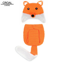 Cute Fox Animal Hat Baby Photography Props Knitted Photos Kids Hats Ear Cap Winter Handmade Newborn