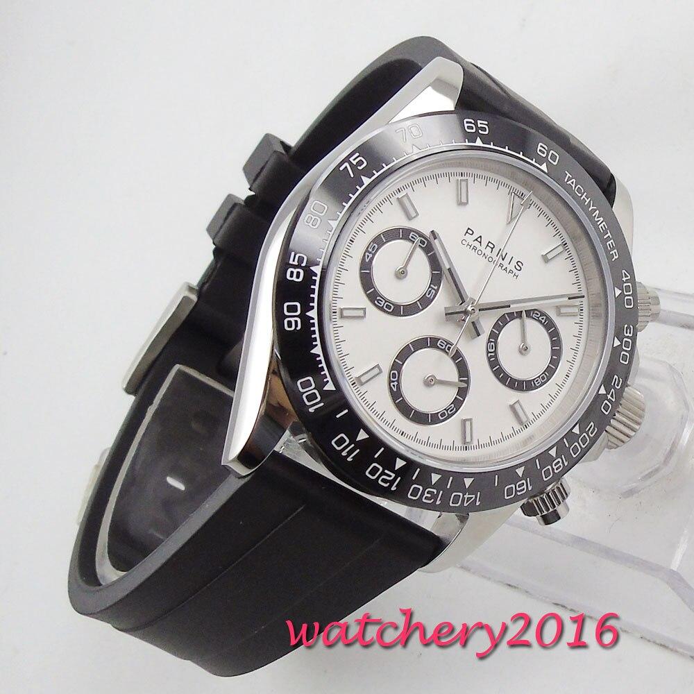39mm PARNIS cadran blanc saphir verre chronographe bracelet en caoutchouc mouvement à Quartz montre pour hommes - 5
