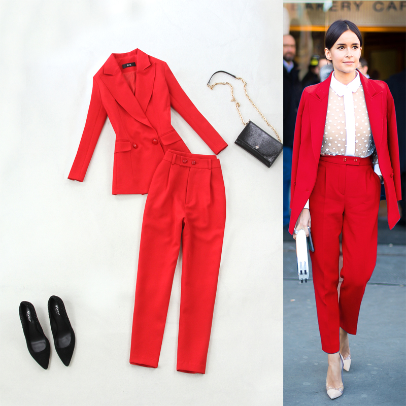 Women's Office Lady Pant Suits 2 Piece Set Red Elegant Double Breasted Turn-down Collar Blazers & Pencil pants Work Suits Jacket