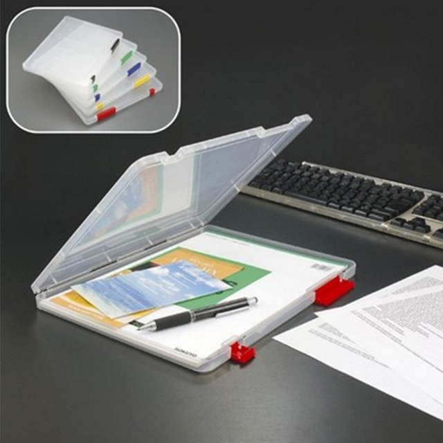 Portable A4 file folder transparent book safe zakka storage Plastic box organizer for the Office storage : file safe box - Aboutintivar.Com