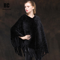 [Rancyword] Autumn Winter Shawl Poncho Women's Genuine Mink Fur Shawl Female Pashmina Cape Knitted real Fur coat Jacket RC1314