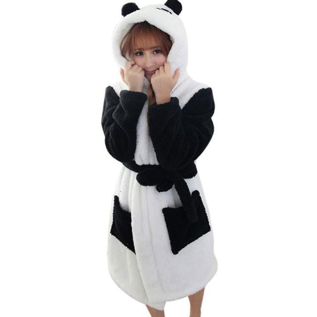 Venda quente de Inverno Senhora Pijama Roupão De Banho Sleepwear Mulheres Roupões De Veludo Coral Mulheres Panda Dos Desenhos Animados Homewear