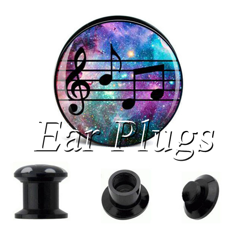 Wholesale Music Notation plug gauges acrylic screw ear plug flesh tunnel piercing body jewelry