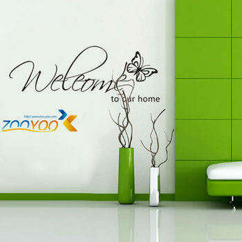 Bienvenido a nuestra casa decoración creativa de pared calcomanías ZooYoo8152 decorativo adhesivos de vinilo de pared removibles