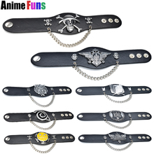 Anime Bracelets One piece Naruto Black Butler Attack on Titan Final fantasy EXO League of Legends Leather Bangle (8 types)